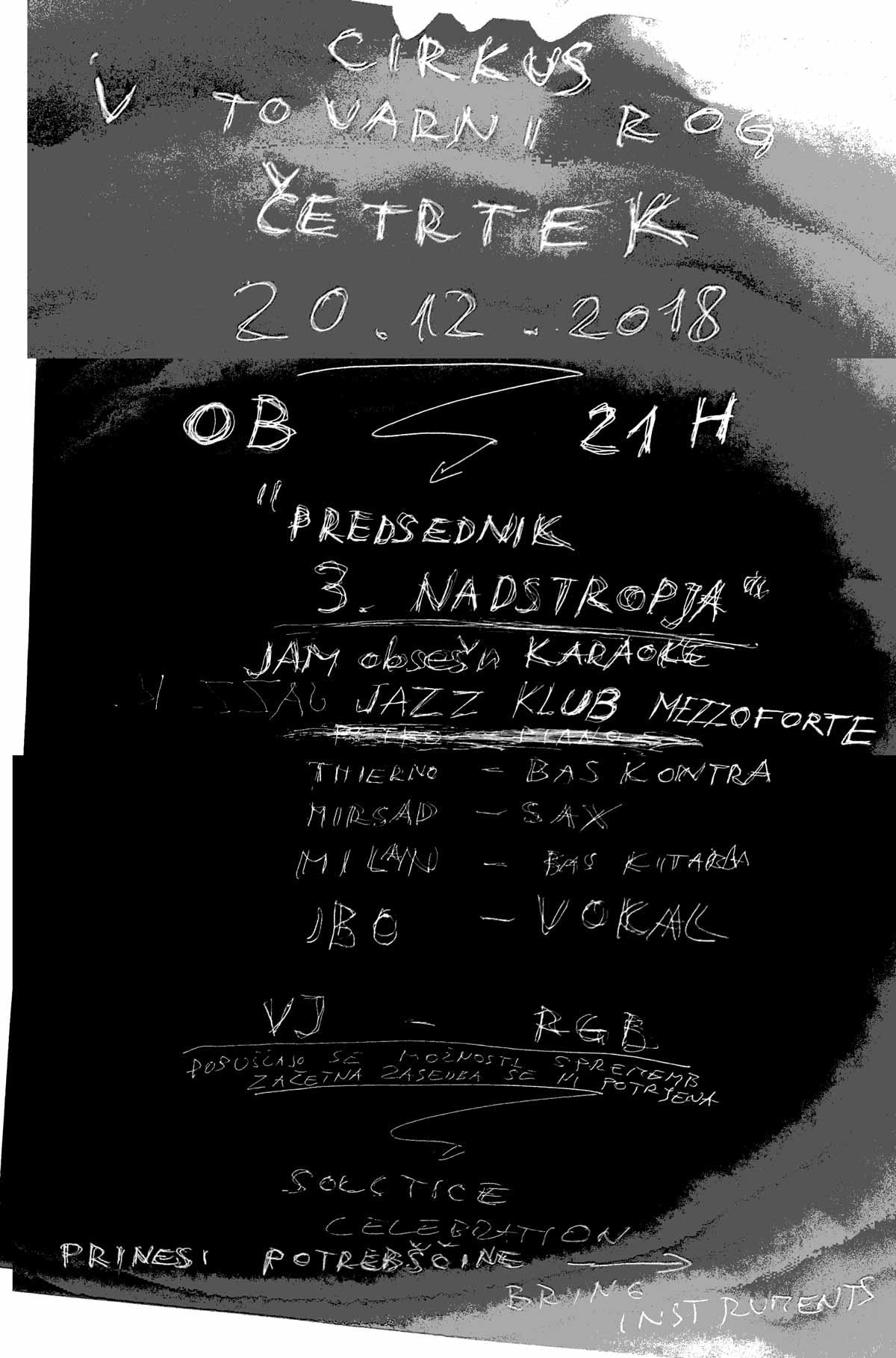 """Jazz klub Mezzoforte: """"Predsednik_3._nadstropja"""" Karaoke:J:obsešn"""